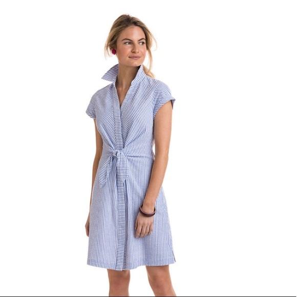 Vineyard Vines Dresses Tie Front Seersucker Shirt Dress Poshmark